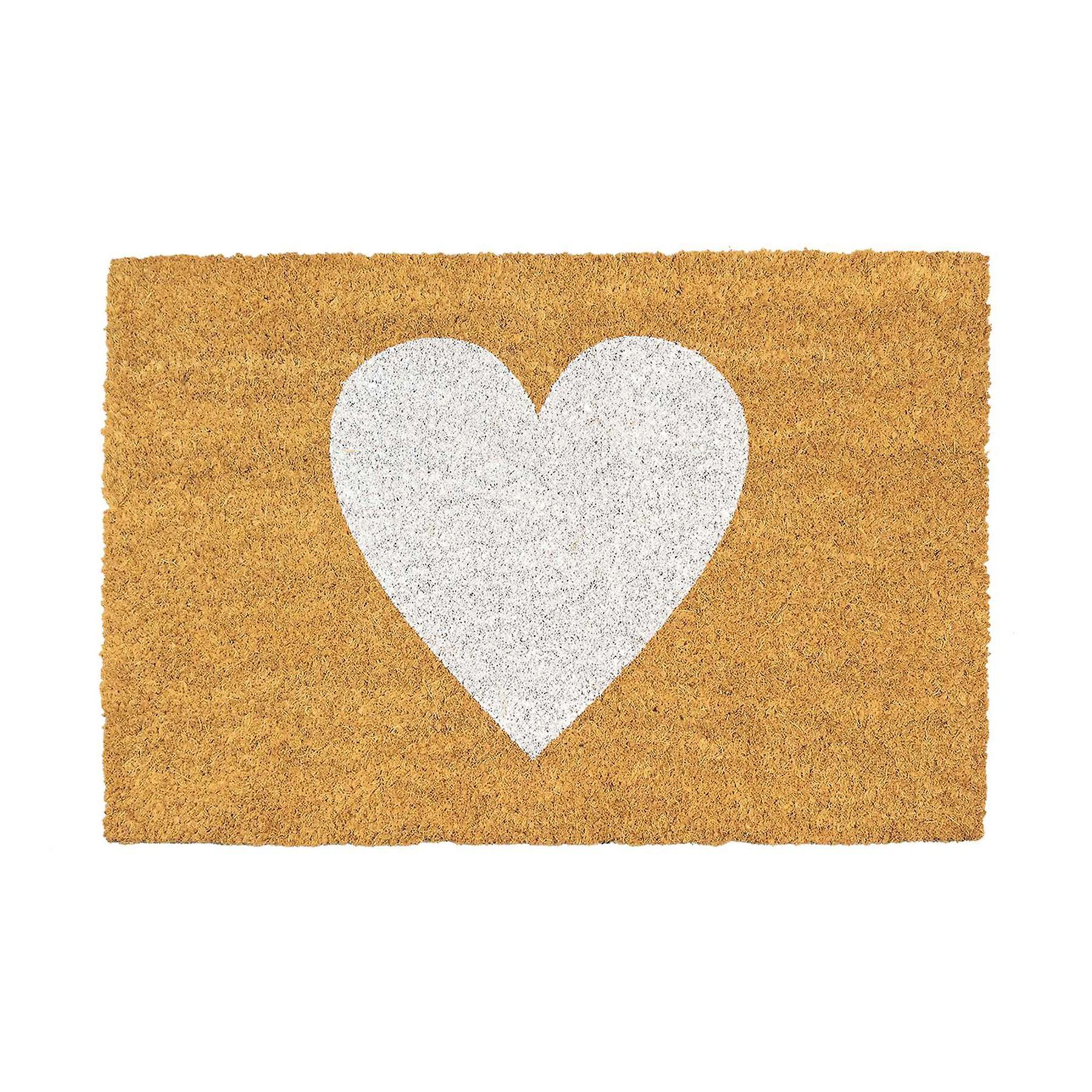 White heart doormat 2x3